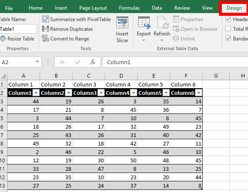 Create a Table in Excel   IT Services