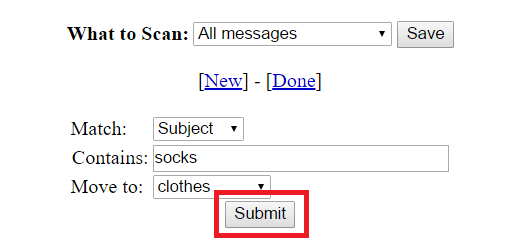 "Screenshot of ""Submit"" button on ""Create New Filter"" page. ""Submit"" button is boxed in red."
