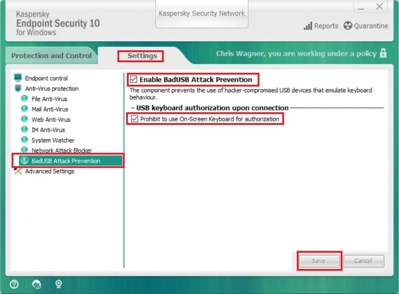 Change Kaspersky settings to allow USB devices | IT Services