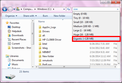 Searching for Large Files in Windows | IT Services