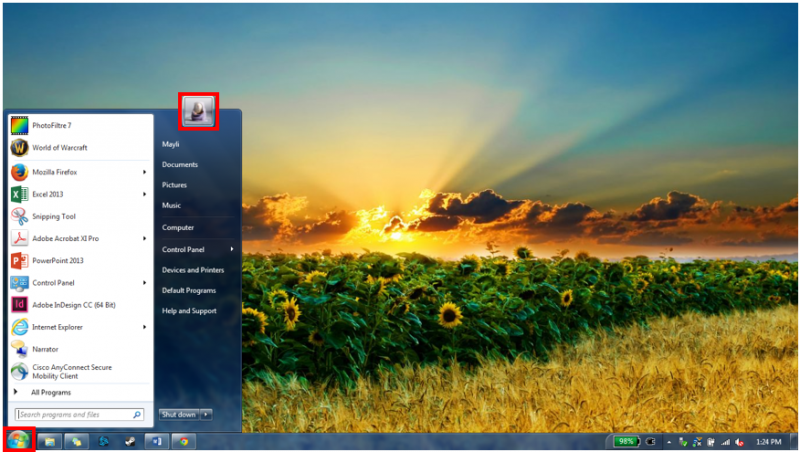 User picture in start menu