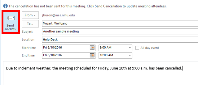 Canceling a Meeting in Outlook | IT Services