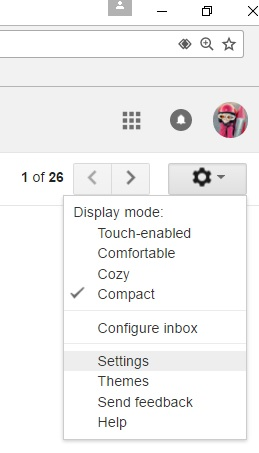 Gmail Settings Gear