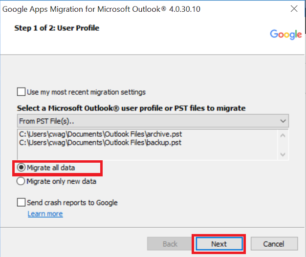Using the Google Migration tool to migrate content into G