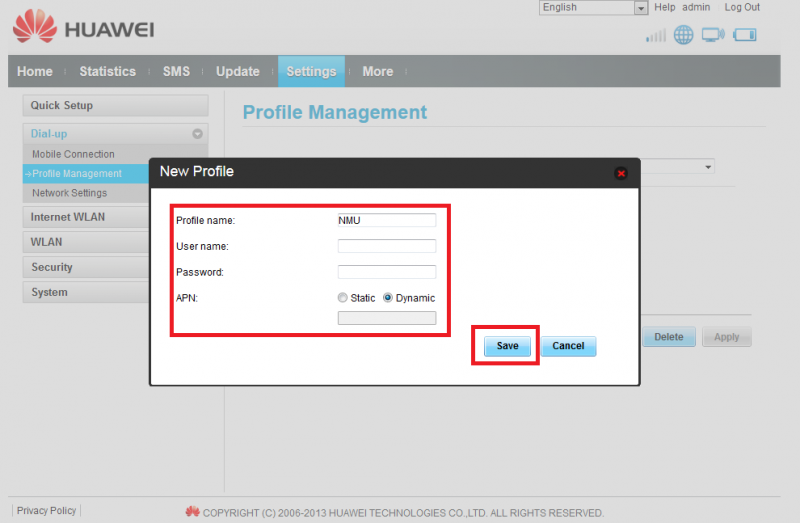 how to change unet profile