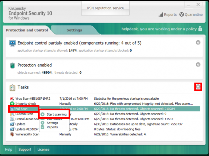 how to run a scan with kaspersky endpoint security 10