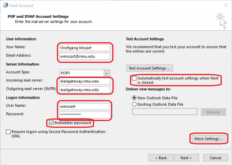 Setting up Outlook to send mail using the NMU Mail Gateway