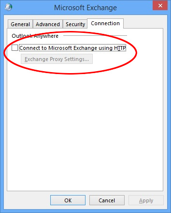 Outlook 2013 connection dialog