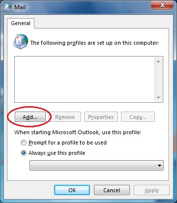 Outlook 2013 add profile dialog