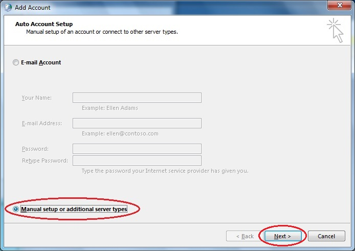 Outlook 2013 select manual config dialog