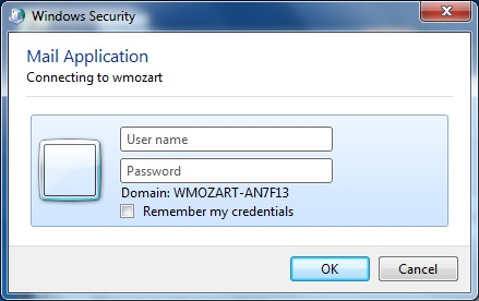 Outlook 2013 user name and password dialog