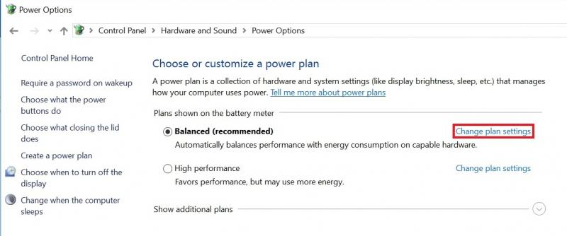 "Click the ""Change plan settings"" link for the currently selected plan."