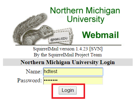 "Screenshot of Squirrelmail login screen, with entries filled in and a red rectangle around ""submit"" button"