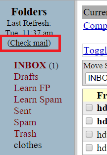 "Screenshot of Squirrelmail inbox, with the ""Check mail"" link boxed in red"