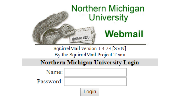 Screenshot of Squirrelmail login screen