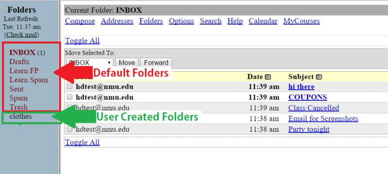 Screenshot of Squirrelmail inbox, with folders list boxed. Red box signifies default folders, green signifies user-created