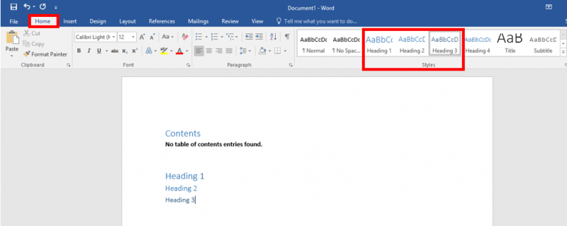 how to create word table of contents from existing headers