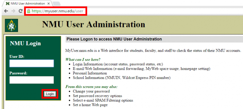 Verify Your NMU Account Status and Password   IT Services