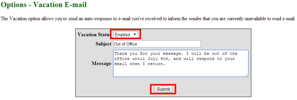 Setting Up A Vacation Email Auto Response It Services