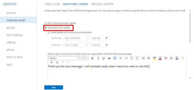 Setting Up a Vacation Email Automatic Response | IT Services