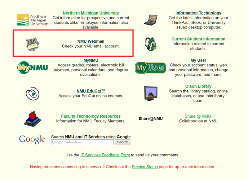 Screenshot of NMU Campus Sites page, with link to Webmail boxed in red
