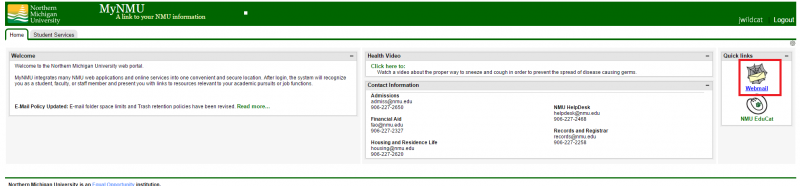 Screenshot of myNMU home page, with webmail link boxed in red.