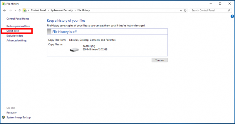 Backup Using Windows File History   IT Services