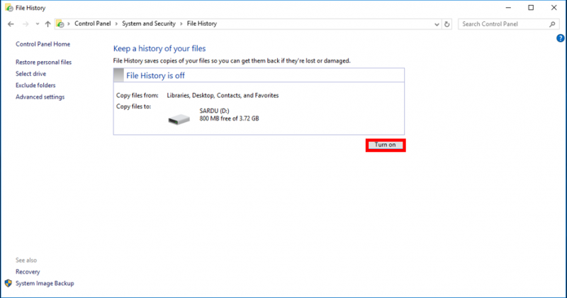 Backup Using Windows File History | IT Services