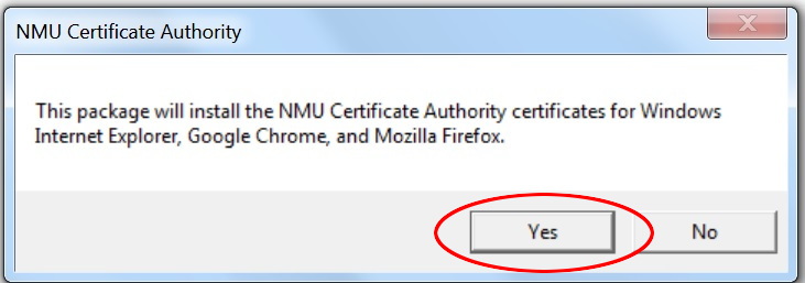 Windows certificate install yes/no